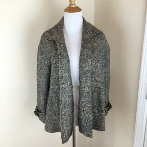 Lafayette 148 Olive Green Silk Tweed Jacket Size 8